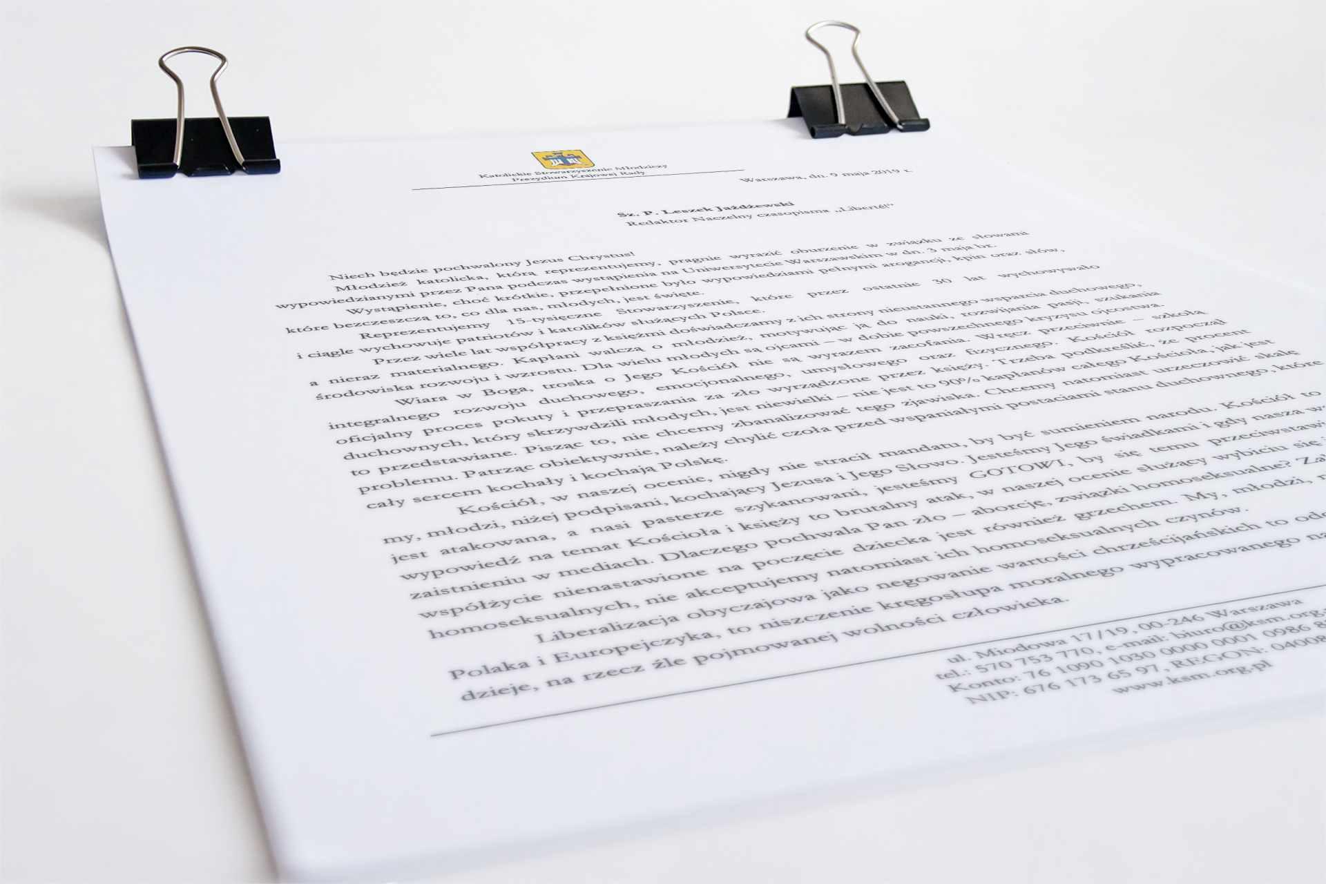 """List doPana Leszka Jażdżewskiego – redaktora naczelnego czasopisma """"Liberté!"""""""